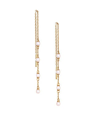 "Image of 18K yellow gold vermeil chain drop earrings interpret the traditional string of white pearls in modern, earring form. 3mm white round freshwater pearls 18k goldplating Sterling silver Threader back Imported SIZE Length, 4"". Fashion Jewelry - Modern Jewelr"