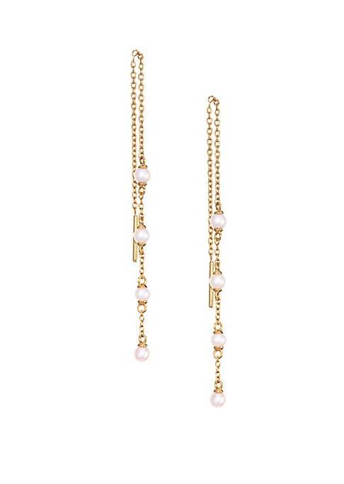 "Image of 18K yellow gold vermeil chain drop earrings interpret the traditional string of white pearls in modern, earring form.3mm white round freshwater pearls.18k goldplating. Sterling silver. Threader back. Imported. SIZE. Length, 4""."