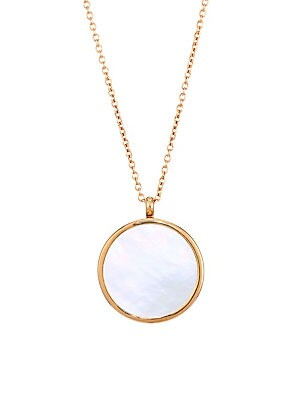 "Image of 18K yellow goldplated necklace with glossy mother-of-pearl pendant that opens. 16MM white flat mother-of-pearl 18K yellow goldplated Sterling silver Lobster clasp Imported SIZE Length, 20"" - 22"". Fashion Jewelry - Modern Jewelry Designers. Astley Clarke."