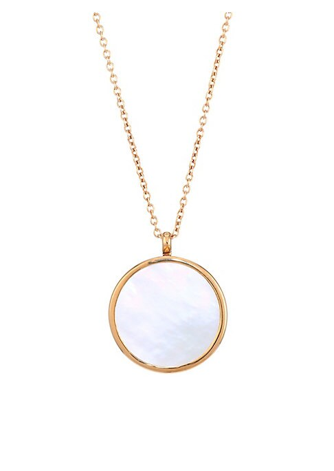"Image of 18K yellow goldplated necklace with glossy mother-of-pearl pendant that opens.16MM white flat mother-of-pearl.18K yellow goldplated. Sterling silver. Lobster clasp. Imported. SIZE. Length, 20"" - 22""."