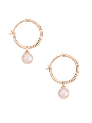 f3153650a Astley Clarke - 7MM Pink Pearl & 18K Rose Goldplated Hoop Earrings -  saks.com