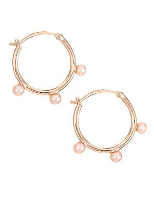 """Image of Each of these demi-fine hoop earrings features three pink pearls set in 18K rose gold vermeil sterling silver. 3mm round pink pearls White sapphire 18K rose gold vermeil plating Sterling silver Latch back Imported SIZE Drop, about 0.7"""". Fashion Jewelry -"""
