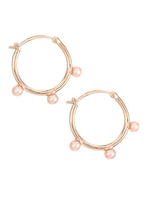 "Image of Each of these demi-fine hoop earrings features three pink pearls set in 18K rose gold vermeil sterling silver.3mm round pink pearls. White sapphire.18K rose gold vermeil plating. Sterling silver. Latch back. Imported. SIZE. Drop, about 0.7""."