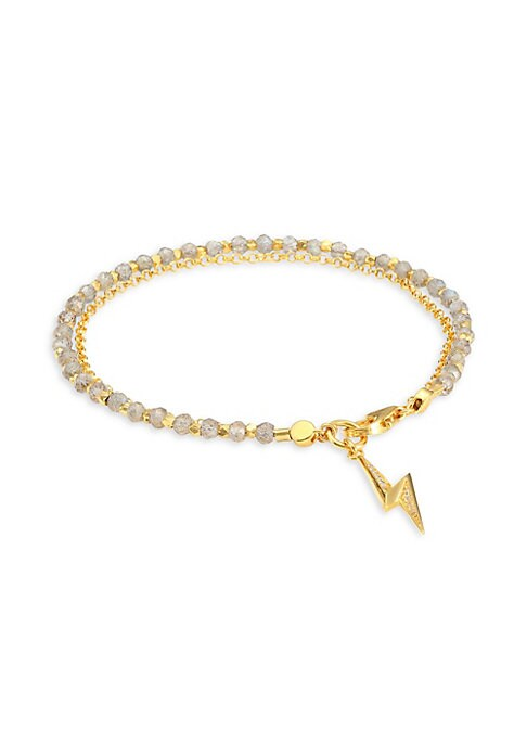 Image of Crafted from 18K yellow goldplated sterling silver, this demi-fine friendship bracelet features hand-cut labradorite gemstone beads separated by gold nuggets and an elegant lightning bolt charm that represents Creativity. Labradorite. White sapphire.18K y