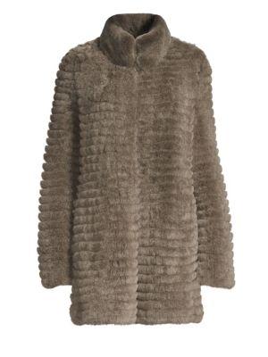 GLAMOURPUSS Rex Rabbit Fur Knit Coat in Taupe Snow