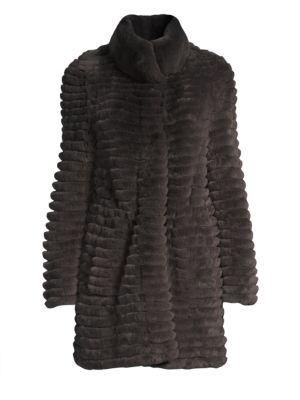 GLAMOURPUSS Rex Rabbit Fur Knit-Blend Jacket in Dark Pewter