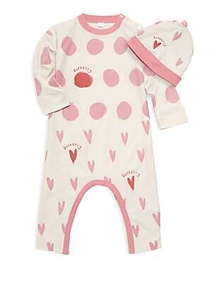 3fb251bebb4 Burberry - Baby Girl s Hearts   Dots Cotton Footie   Hat Set - saks.com