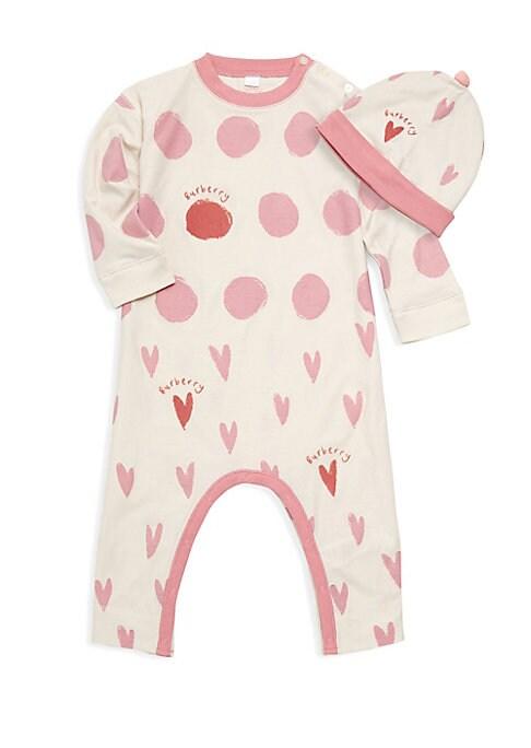 Baby Girls Hearts  Dots Footie  Hat Set