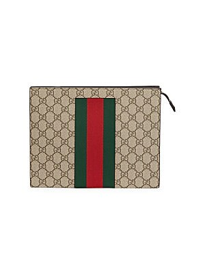"Image of Iconic brand's monogram on this pouch is accentuated with their signature green and red Web. Top zip closure Silvertone hardware Canvas Spot clean Made in Italy SIZE 10""W x 8""H x 2.5""D. Men Accessories - Leather Goods. Gucci. Color: Beige."