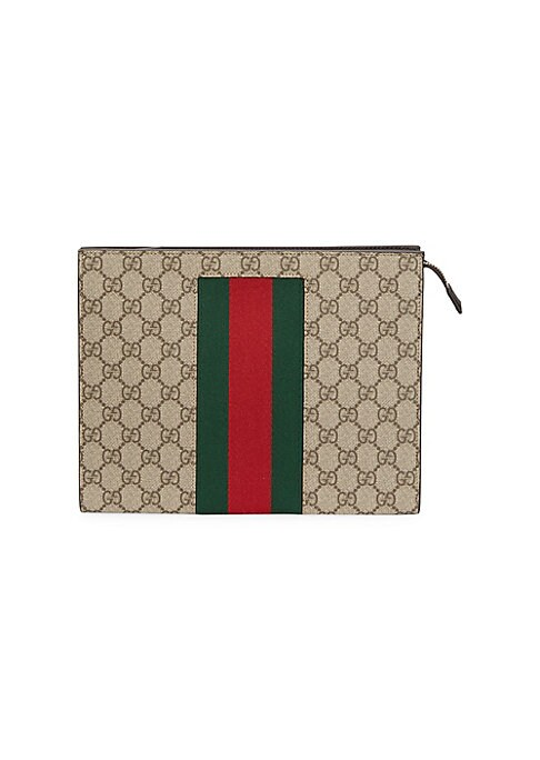 "Image of Iconic brand's monogram on this pouch is accentuated with their signature green and red Web. Top zip closure. Silvertone hardware. Canvas. Spot clean. Made in Italy. SIZE.10""W x 8""H x 2.5""D."