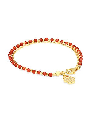 Image of Bright faceted beads anchor shimmering hamsa pendant. White sapphire Red agate 18K gold vermeil sterling silver Lobster clasp Imported SIZE Length, about 7.28. Fashion Jewelry - Modern Jewelry Designers. Astley Clarke.