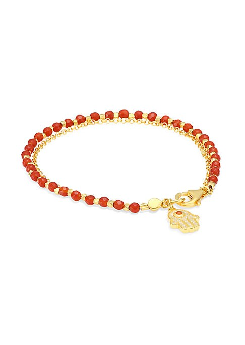 "Image of Bright faceted beads anchor shimmering hamsa pendant. White sapphire. Red agate.18K gold vermeil sterling silver. Lobster clasp. Imported. SIZE. Length, about 7.28""."