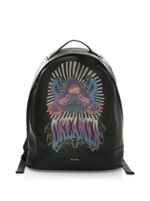 PAUL SMITH Dreamer Printed Leather Backpack in 79.Black