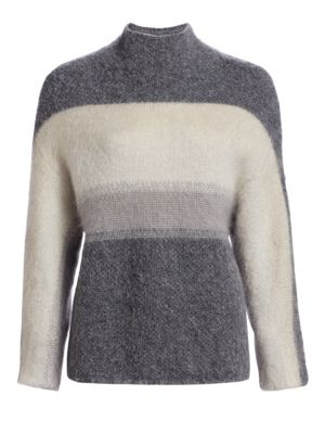 Holland Stripe Merino Wool & Mohair Blend Sweater, Charcoal