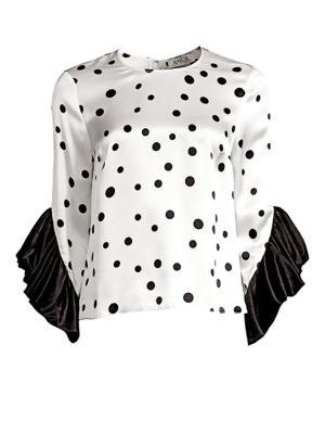 AMUR Fern Ruffle Sleeve Silk Blouse in White/ Black