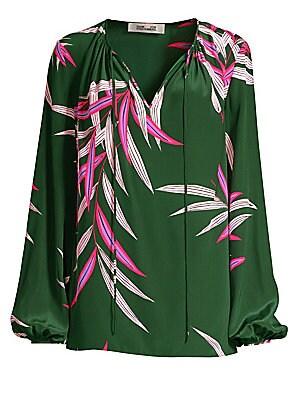 98b57861f01e9b Diane von Furstenberg - Silk Keyhole Blouse - saks.com