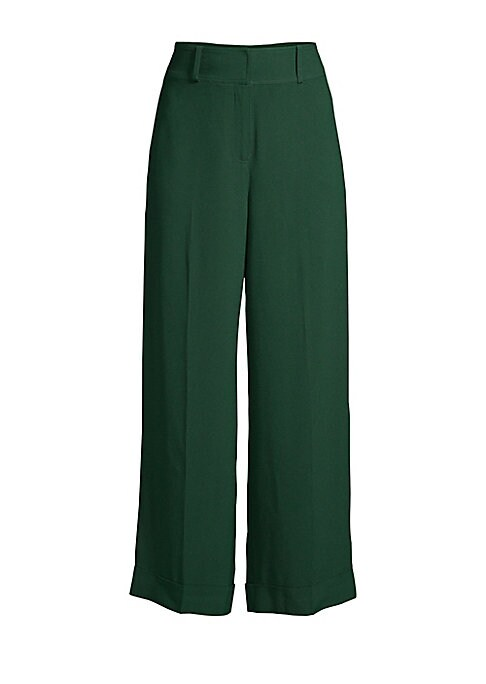 """Image of Refined wide leg pant complete with a crisp cuff hem. Button waist closure. Zip fly. Cuffed hem. Back welt pockets. Acetate/rayon. Dry clean. Imported. SIZE AND FIT. Rise, about 13"""".Leg-opening, about 21"""".Inseam, about 27"""".Model shown is 5'10"""" (177cm) wea"""