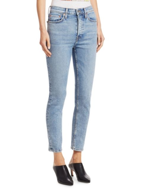 Re/done High-Rise Ankle Crop Comfort Stretch | SaksFifthAvenue