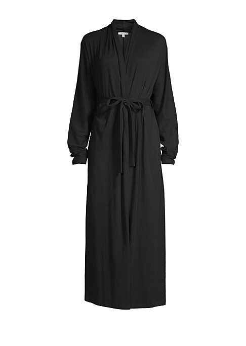 """Image of Cozy jersey robe with a flattering full length. Open front. Long sleeves. Self tie waist. Cotton. Machine wash. Imported. SIZE AND FIT. About 53"""" from shoulder to hem. Model shown is 5'10"""" (177cm) wearing US size Small."""