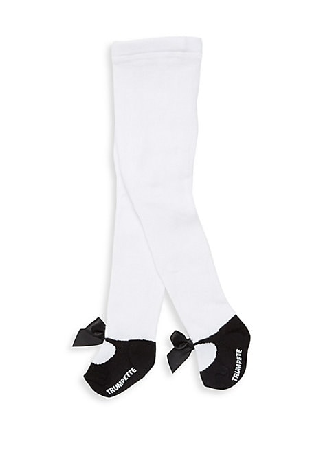 Image of One pair of white tights and a classic black shoe design with a twist of an added velvet bow will dress up any outfit! This comes banded with a header/hanger. Cotton. Machine wash. Imported.
