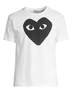 "Image of Classic cotton tee finished with a large heart graphic. Crewneck Short sleeves Pullover style Cotton Hand wash Made in Japan SIZE & FIT Regular fit About 27"" from shoulder to hem. Men Adv Contemp - Advanced Contemp Collect > Saks Fifth Avenue. Comme des G"