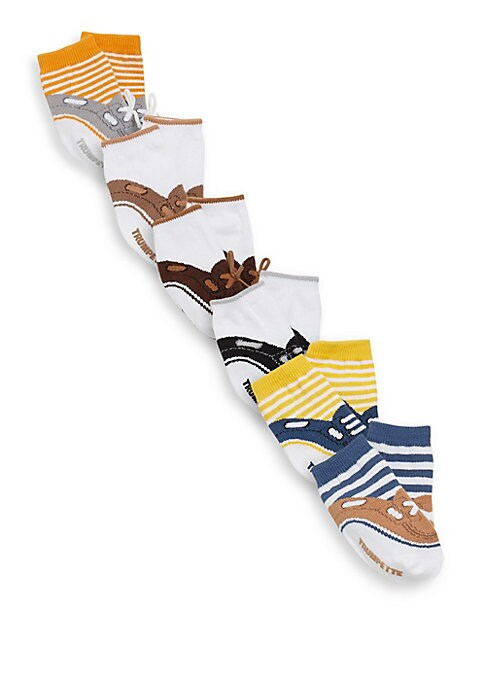 Image of Six pair of socks with three different boat shoe designs and a pop of color. Six pairs per pack. Includes gift box. Cotton. Machine wash. Imported.