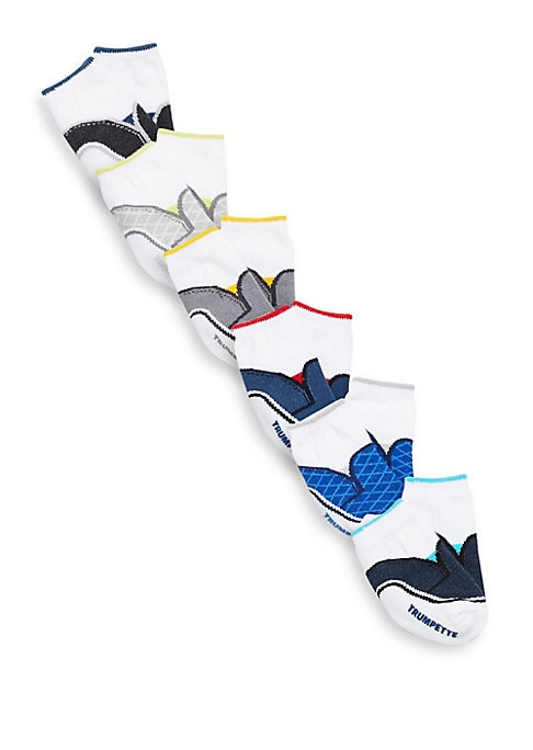 Image of Six pairs of socks with three different boat shoe designs and a pop of color. Perfect for mixing and matching with your little ones attire.6 pairs per pack. Includes gift box. Cotton. Machine wash. Imported.
