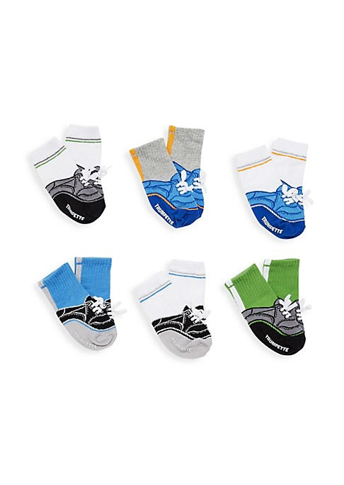 Image of Game on! Six pairs of sporty tennis shoe socks. These are taller socks with some rib and althletic stripe details. Six pairs per pack. Includes gift box. Cotton. Machine wash. Imported.