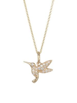 14K Yellow Gold, Diamond & Sapphire Hummingbird Necklace