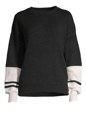 360CASHMERE Colorblock Boyfriend Sweater in Black Marble