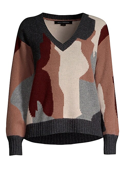 """Image of Camouflage cashmere sweater with understated rendition of signature skull.V-neck. Long sleeves. Rib-knit collar, cuffs, and hem. Cropped hem. Pullover style. Cashmere. Dry clean. Imported. SIZE & FIT. About 21"""" from shoulder to hem. Model shown is 5'10"""" ("""