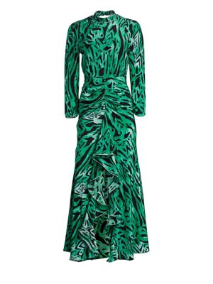 Lucy Open-Back Ruffled Animal-Print Silk Maxi Dress in Green