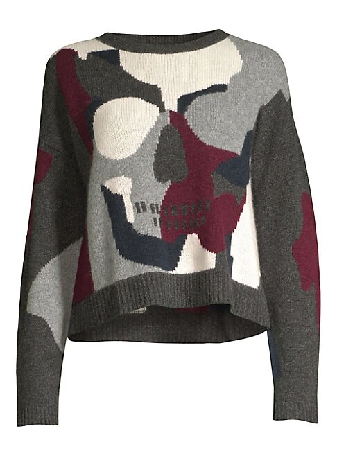 """Image of Cozy camo sweater features an eye-catching skull motif. Crewneck. Long sleeves. Ribbed neck, cuffs and hem. Pullover style. Cashmere. Dry clean. Imported. SIZE & FIT. Cropped silhouette. About 23"""" from shoulder to hem. Model shown is 5'10"""" (177cm) wearing"""