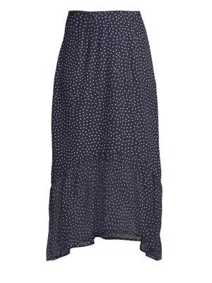 Rixo London Leandra Polka Dot Silk Midi Flounce Skirt