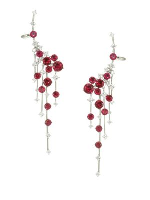 ADRIANA ORSINI Cava Rhodium-Plated Sterling Silver Fringe Climber Earrings