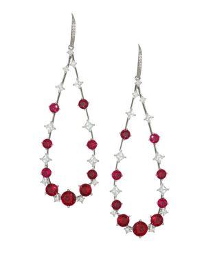 ADRIANA ORSINI Cava Rhodium-Plated Sterling Silver Teardrop Earrings