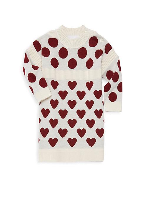 Babys  Little Girls Mini Heart Dot Sweater Dress