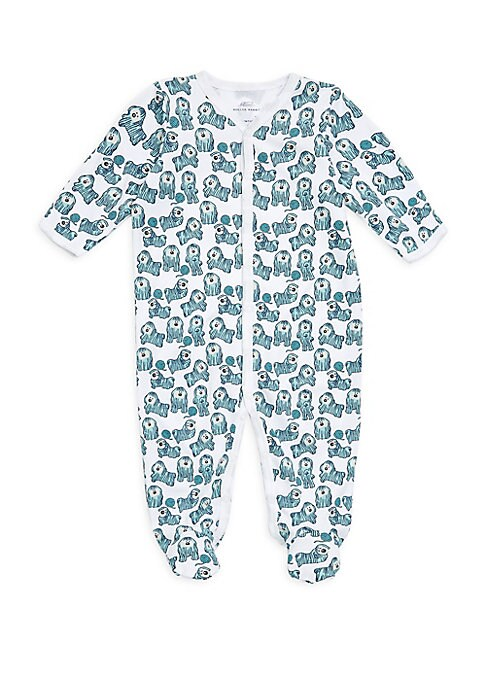 Image of Soft and breathable pima cotton pajama with adorable dog print.V-neck. Long sleeves. Front snap closure. Footed legs. Cotton. Machine wash. Imported.