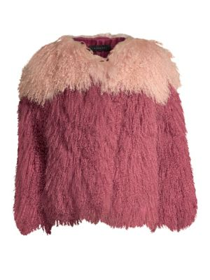 H BRAND Andie Two-Tone Shearling Jacket in Berry Blush