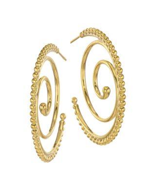 Midnight Oasis Arabesque 18K Yellow Gold Hoop Earrings