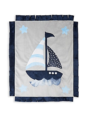 "Image of Sailboat motif blankt with a cool tie dye printed back and fringe trim 30"" x 36"" Polyester Machine wash Imported. Children's Wear - Layette Apparel And Acce. Boogie Baby. Color: Blue Multi."