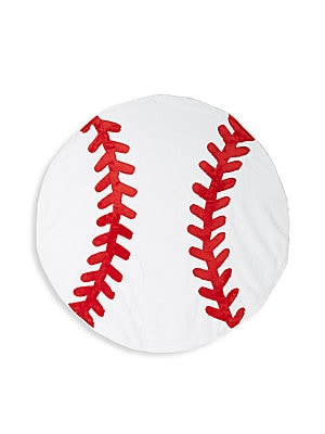 "Image of Baseball inspired blanket complete with contrast stitching Diameter, about 43"" Polyester Machine wash Imported. Children's Wear - Layette Apparel And Acce. Boogie Baby. Color: White."