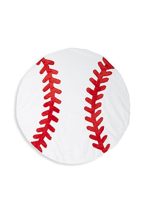 "Image of Baseball inspired blanket complete with contrast stitching. Diameter, about 43"".Polyester. Machine wash. Imported."