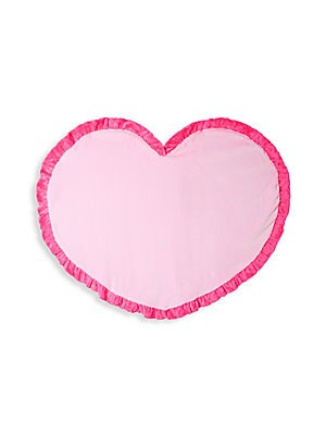 "Image of Plush heart motif blanket complete with ruffled trim Diameter, about 45"" Polyester Machine wash Imported. Children's Wear - Layette Apparel And Acce. Boogie Baby. Color: Pink."