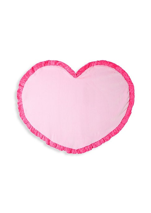 "Image of Plush heart motif blanket complete with ruffled trim. Diameter, about 45"".Polyester. Machine wash. Imported."