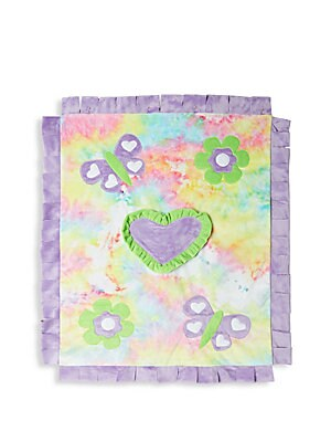 "Image of Fringe trim blanket with tie dye background and butterfly and heart patches 30"" x 36"" Polyester Machine wash Imported. Children's Wear - Layette Apparel And Acce. Boogie Baby."