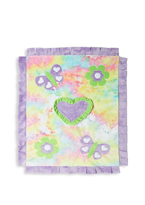 "Image of Fringe trim blanket with tie dye background and butterfly and heart patches.30"" x 36"".Polyester. Machine wash. Imported."
