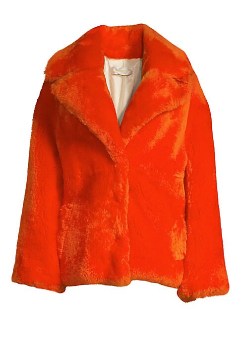 Image of This bold fiery orange creation flaunts a chunky silhouette. Designed with oversized sleeves and notch lapels, this is the ideal statement piece. Oversized notch lapels. Long sleeves. Concealed snap-button front. Fully lined. Fuzzy finish. Shearling. Fur