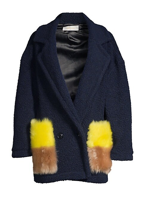 Image of EXCLUSIVELY AT SAKS FIFTH AVENUE. This wool-blend coat flaunts bold two-tone fur pockets that embody individuality. Renowned for its craftsmanship, this coat merges simple Nordic craftsmanship with Parisian timelessness. Notch lapels. Long sleeves. Double