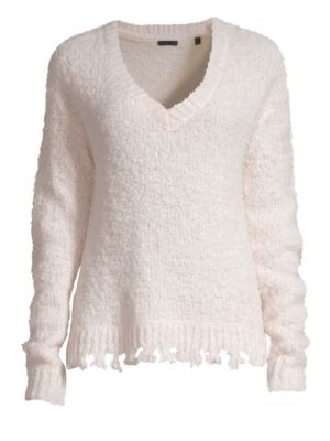 Distressed V-Neck Sweater - Neutral Size M